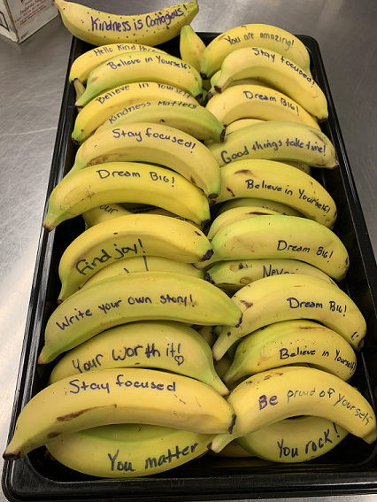 Protsman Student Council, asked staff members to participate along with them, to write Kindness Bananagrams on the bananas in the cafeteria that were served on Wednesday, February 26 to students.