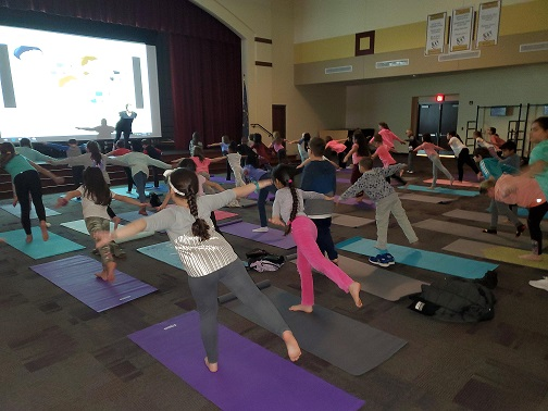 """On Thursday, February 6th, 54 Protsman students participated in 'Yoga Club"""" under the guidance of their teachers!"""