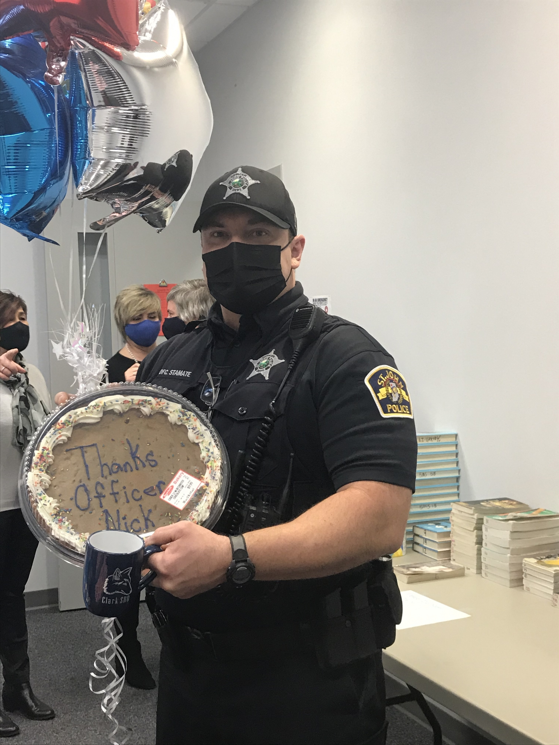 Clark Middle School celebrates Officer Nick for Law Enforcement Appreciation Day.
