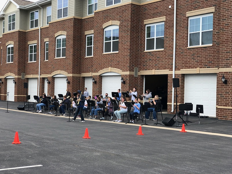 Clark jazz band entertained the residents of Park Place in St John on Saturday May 15. See Director and Mrs. Walton (far right) performing with the group.