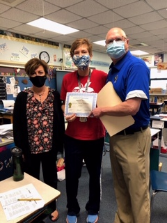 """Mrs. Schoon and Dr. Veracco """"interrupted"""" Michelle Snow's 4th grade class at Bibich to inform her that she was selected 2021 Teacher of the Year for LCSC by her peers."""