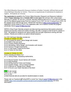 Purdue University Fall Enrichment Programs