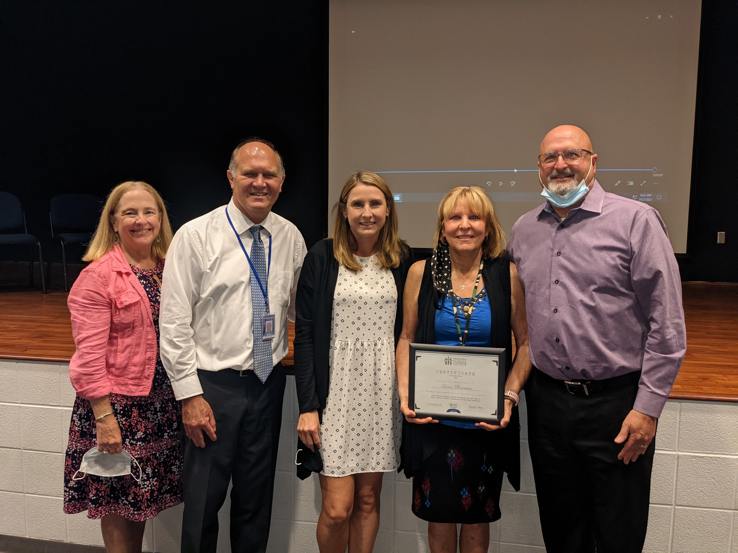 Karen Bowman, Clark MS was recently recognized by the Indiana School Counselor Association as Middle School Counselor of the Year. Congratulations Karen!